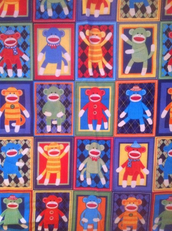 CUSTOM Sock Monkey Squares-Woven Hybrid