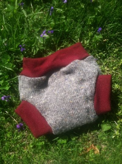 Upcycled Grey &amp; Red Wool Soaker-SMALL