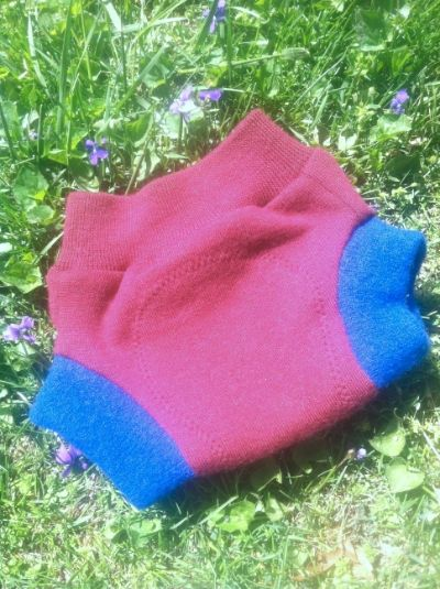 Upcycled Red &amp; Blue Wool Soaker-SMALL